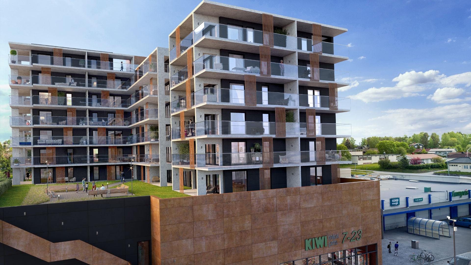 Bilde av boligbyggingsprosjektet Storhamar Torg